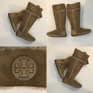 Tory Burch suede and sheepskin below knee boots